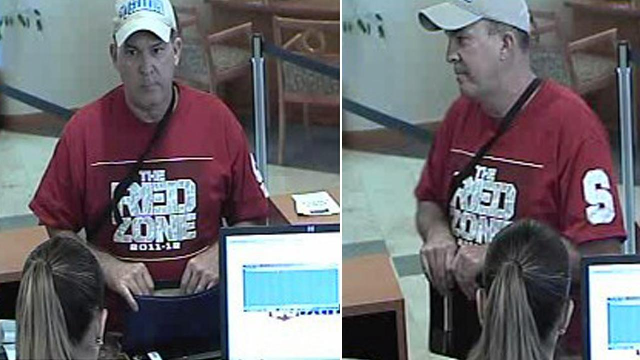 Surveillance photos show a man suspected of being the serial bank robber who has been dubbed The Desperate Bandit at a U.S. Bank in Placentia on Friday, Sept. 28, 2012.