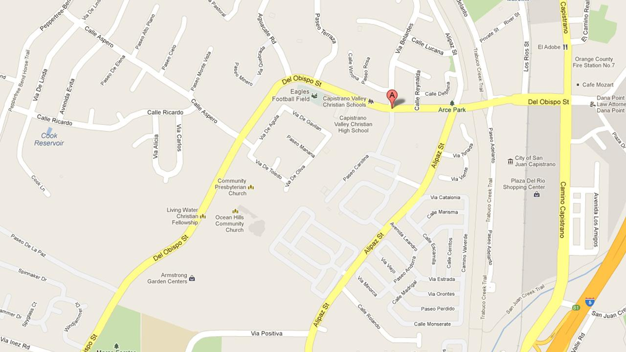 A map indicates the location of a pursuit on Del Obispo near Paseo Carolina in San Juan Capistrano on Wednesday, Oct. 3, 2012.