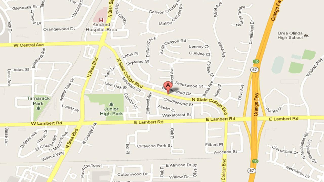 A map indicates the area near State College Boulevard and Lambert Road in Brea where Huntington Beach police observed three wanted suspects burglarize a residence on Monday, Nov. 5, 2012.