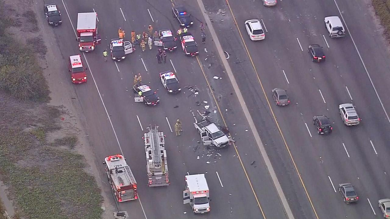 A high-speed pursuit came to a crashing end on the 5 Freeway in Capistrano Beach, shutting down the southbound lanes on Friday, Nov. 23, 2012.