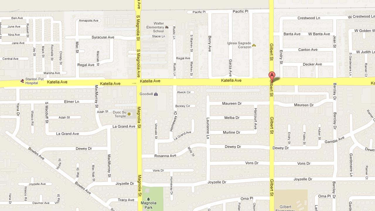 A map indicates the location of a fatal hit-and-run crash involving a taxi minivan in Garden Grove on Wednesday, Dec. 5, 2012.