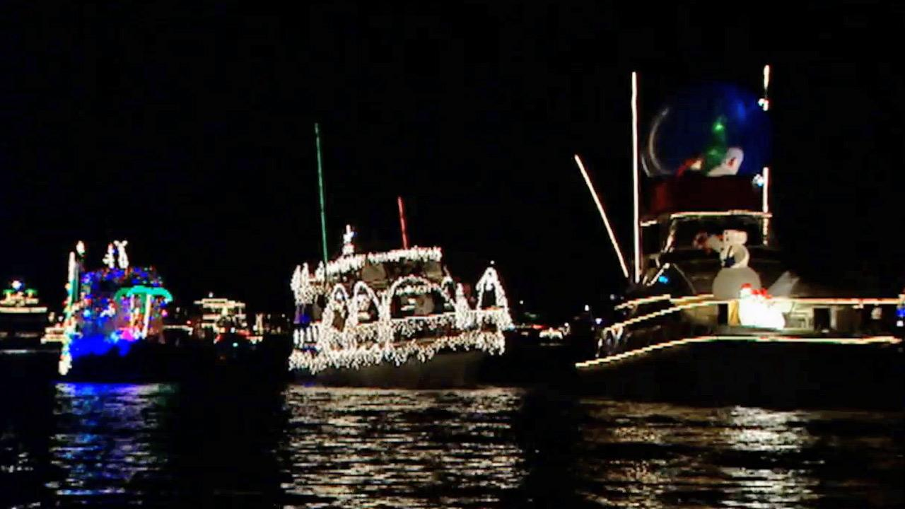 Decorated boats line up for the annual Christmas Boat Parade in Newport Beach in this undated photo.