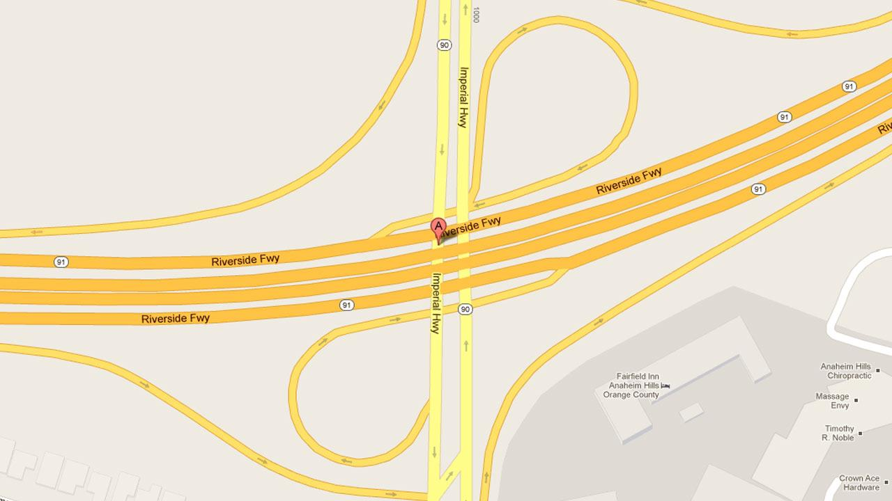 A map indicates the area on Imperial Highway near the westbound ramp to the 91 Freeway in Anaheim where a man was fatally killed in a hit-and run Monday, Dec. 17, 2012.