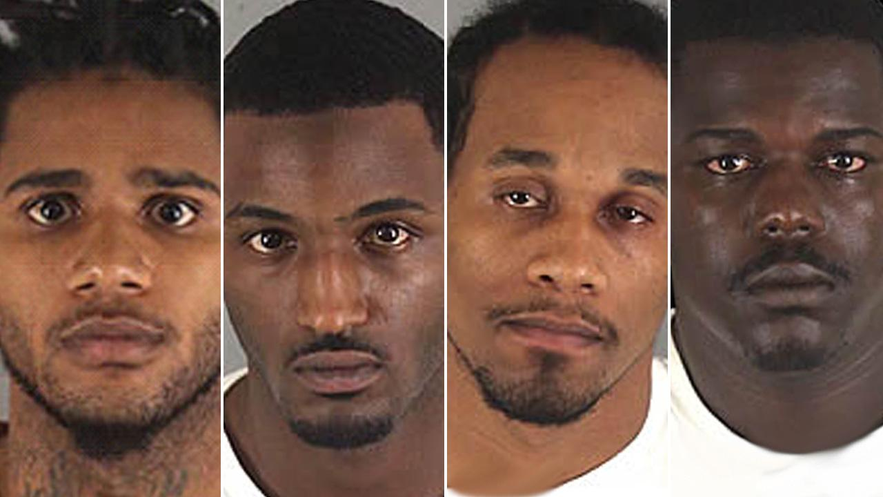 Roosevelt Fernandez, Traevon Vidaud, Damian Banks and Jerome Allen are shown in booking images. They are accused of robbing a Moreno Valley jewelry store, fleeing from law enforcement and triggering a lockdown at Cal State Fullerton.