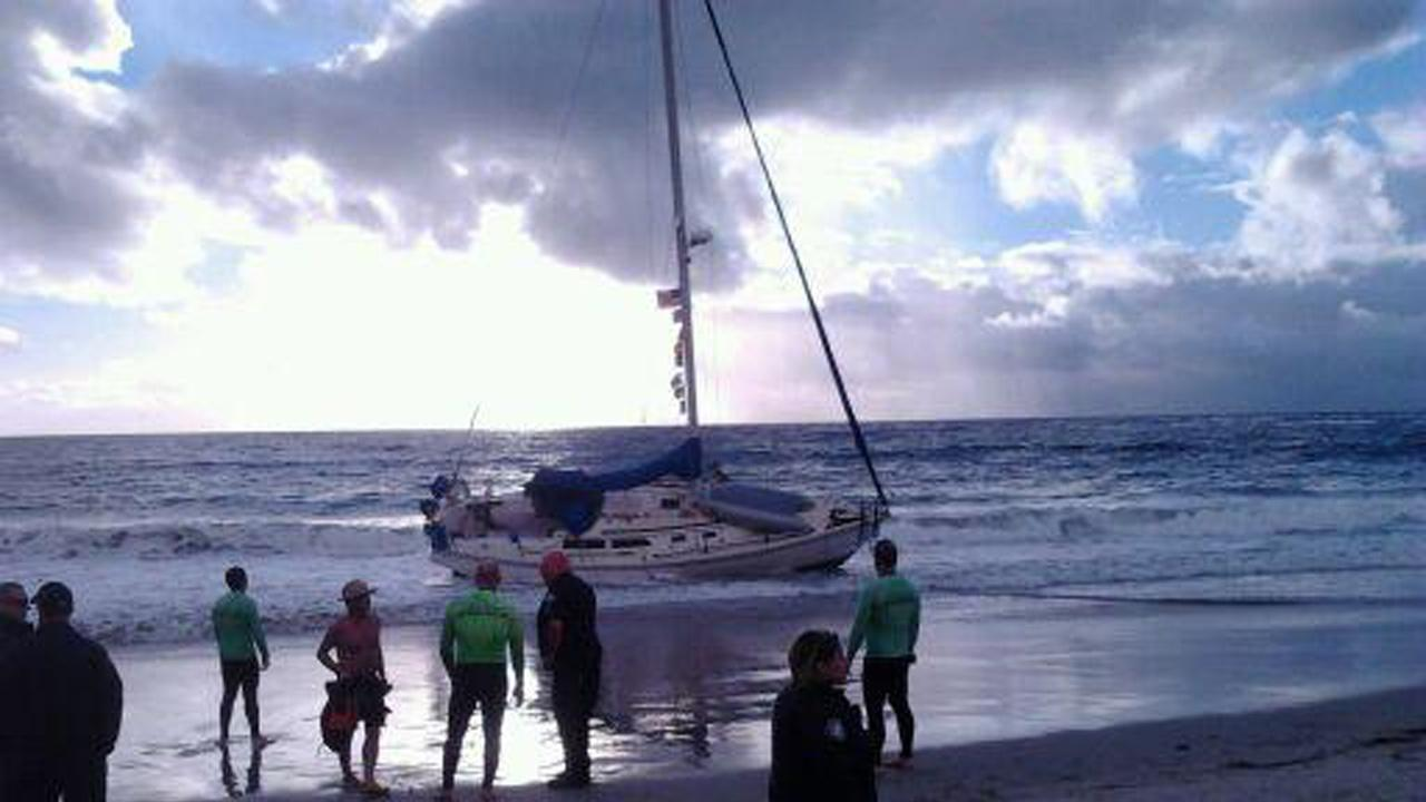 An ABC7 viewer sent in this photo of a boat that ran aground off the coast of Laguna Beach on Sunday, Jan. 6, 2013.