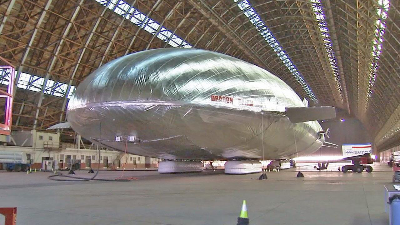 A giant helium airship is shown inside of a hangar in Tustin in this January 2013 photo.