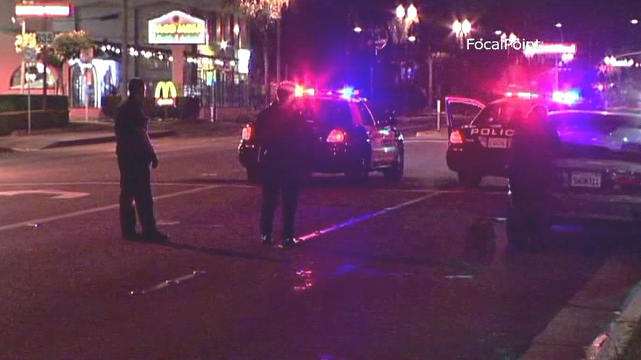 Police respond to the scene of a hit-and-run on 19th Street near Anaheim Avenue in Costa Mesa on Friday, Jan. 18, 2013.