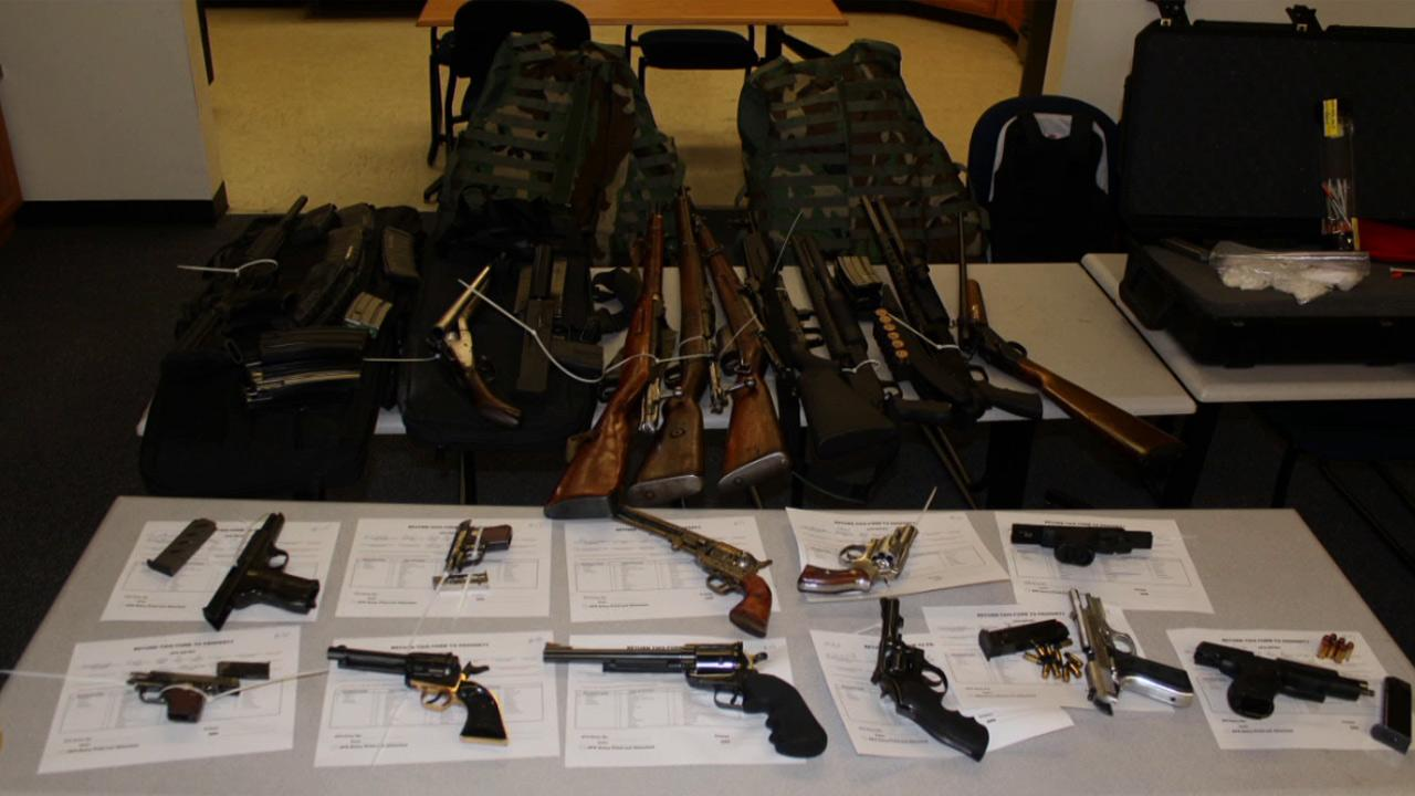 Authorities confiscated a cache of weapons at a storage unit on the 500 block of Crowther Street in Placentia.