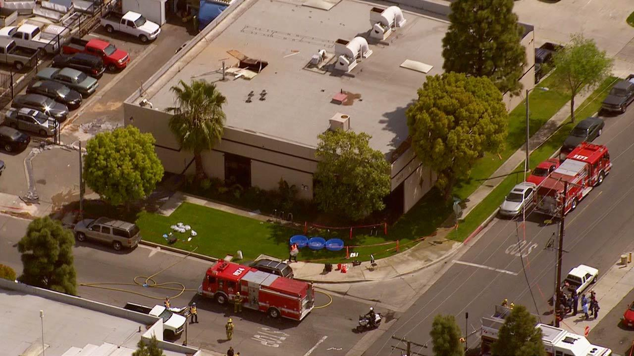 Hazmat crews responded to Precious Metal Plating located at 2635 South Orange Avenue in Santa Ana following a chemical explosion on Friday, April 5, 2013.