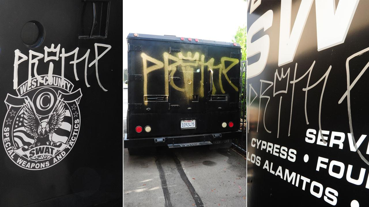 Cypress police officers discovered graffiti on a SWAT vehicle in a secure parking lot Tuesday, May 7, 2013.