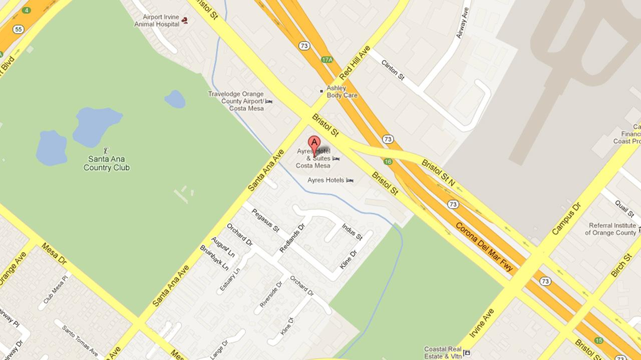 A map indicates the location of a fatal car crash in the 300 block of Bristol Street in Costa Mesa on Friday, May 17, 2013.