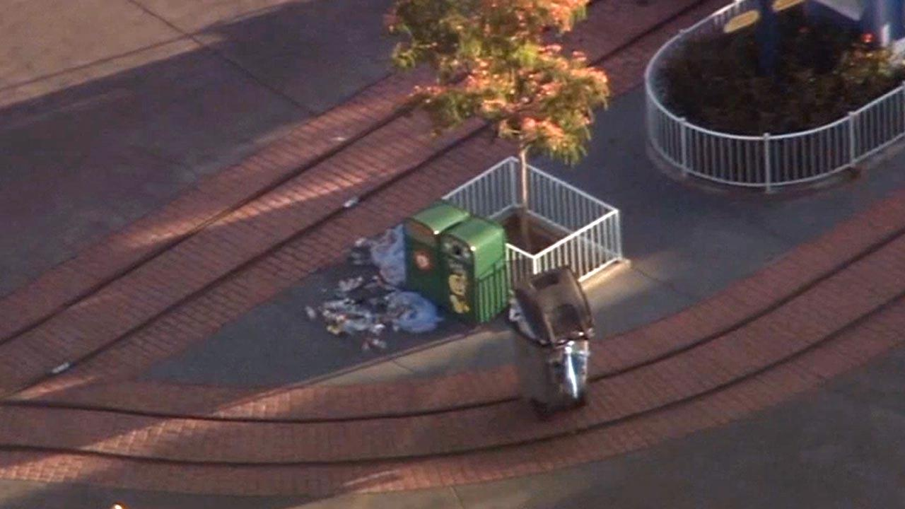 Evacuations were ordered for the Mickeys Toontown area of Disneyland after an apparent dry ice explosion in this green trash can on Tuesday, May 28, 2013.