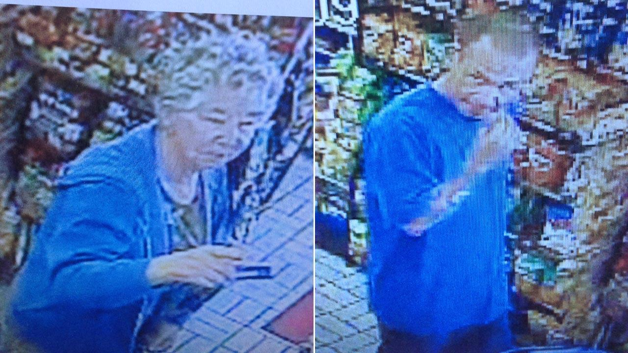 Cheryl Jean Moser, 69, was seen on surveillance camera footage at a Mobil gas station near the 133 Freeway and Pacific Coast Highway in Laguna Beach. She was seen with an unidentified man (right), who police are now calling a person of interest.