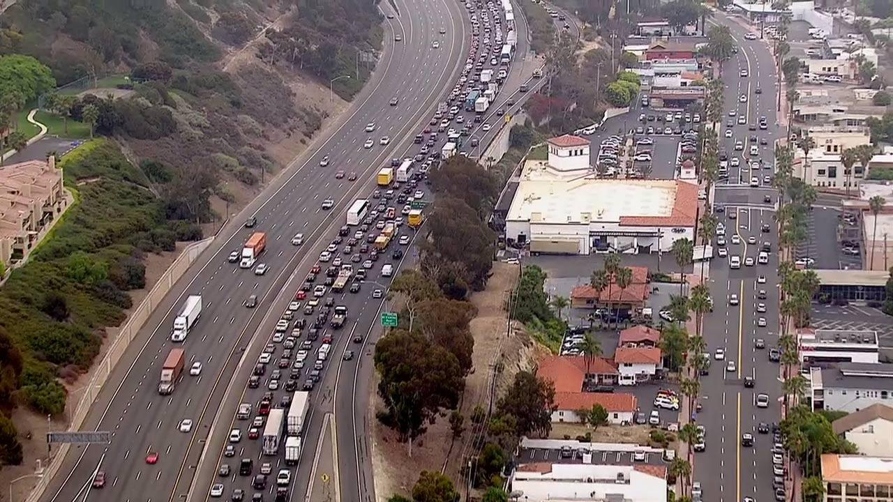 An accident involving a propane tanker truck and five vehicles cause major delays on the southbound 5 near San Clemente on Friday, June 14, 2013.