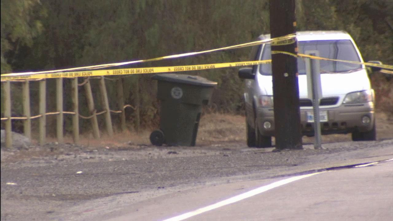 A body was found inside a trash can in Brea at Brea Canyon Road, near Central Avenue, on Friday, June 21, 2013.