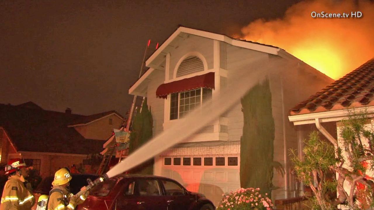 Investigators say fireworks are to blame for starting a fire at a Buena Park home on Thursday, July 4, 2013.