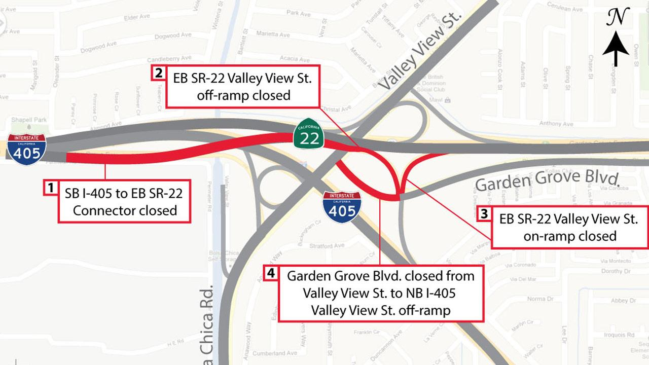 The freeway connector between the southbound 405 and the eastbound 22 will be closed for 55 hours over the weekend of July 27, 2013.