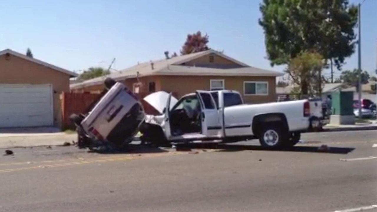 A man was arrested after police say he caused a string of car crashes within a one-mile radius in Orange County on Saturday, Aug. 24, 2013.