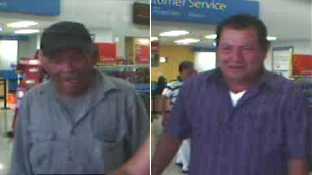 Brea police release these surveillance photos of two men suspected of scamming women at shopping centers, using gold bars.