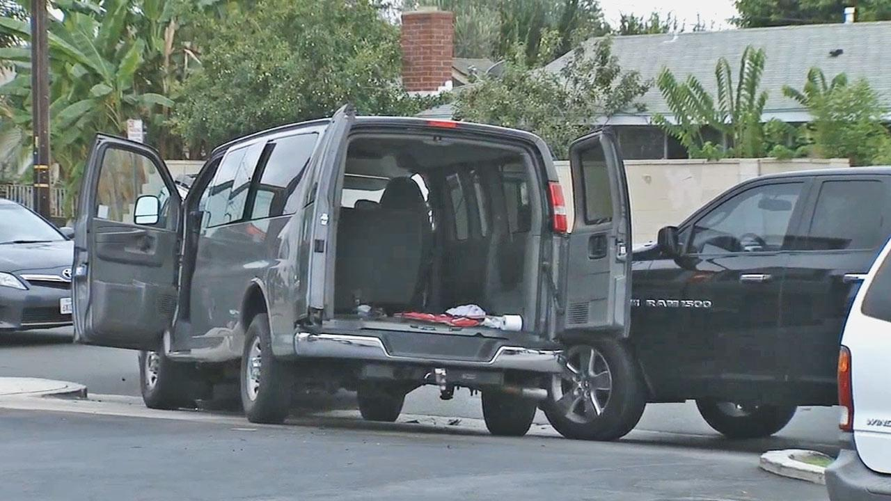 Three suspects were arrested in Anaheim after crashing their vehicle into a police unit following a pawn shop robbery Friday, Sept. 20, 2013.