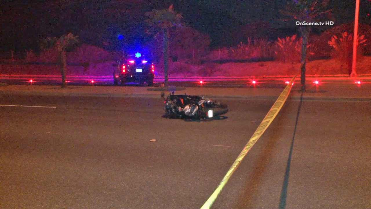A man was killed when the motorcycle he was riding struck the center divider on Pacific Coast Highway near Prospect Street in Newport Beach Saturday, Sept. 28, 2013.
