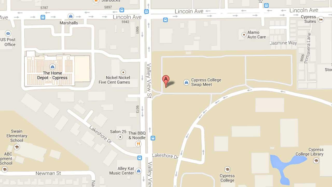 A map indicates the area near Cypress College on the 9200 block of Valley View Street where a man forcibly kissed and inappropriately touched a student Thursday, Oct. 10, 2013.