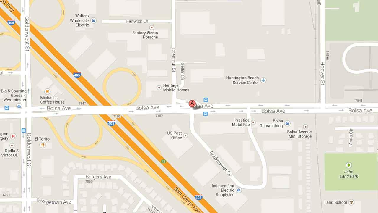 A map indicates the area near the 13100 block of Goldenwest Street in Westminster where a 24-year-old man was arrested for kidnapping a female aquaintance Saturday, Oct. 12, 2013.