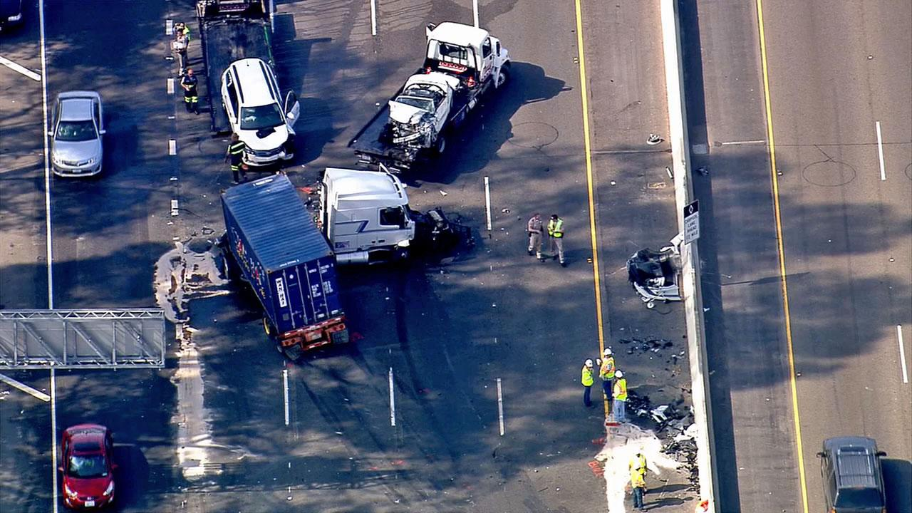 Nine people were injured when a semi-truck collided with several vehicles on Interstate 5 in San Clemente Thursday, Oct. 24, 2013.
