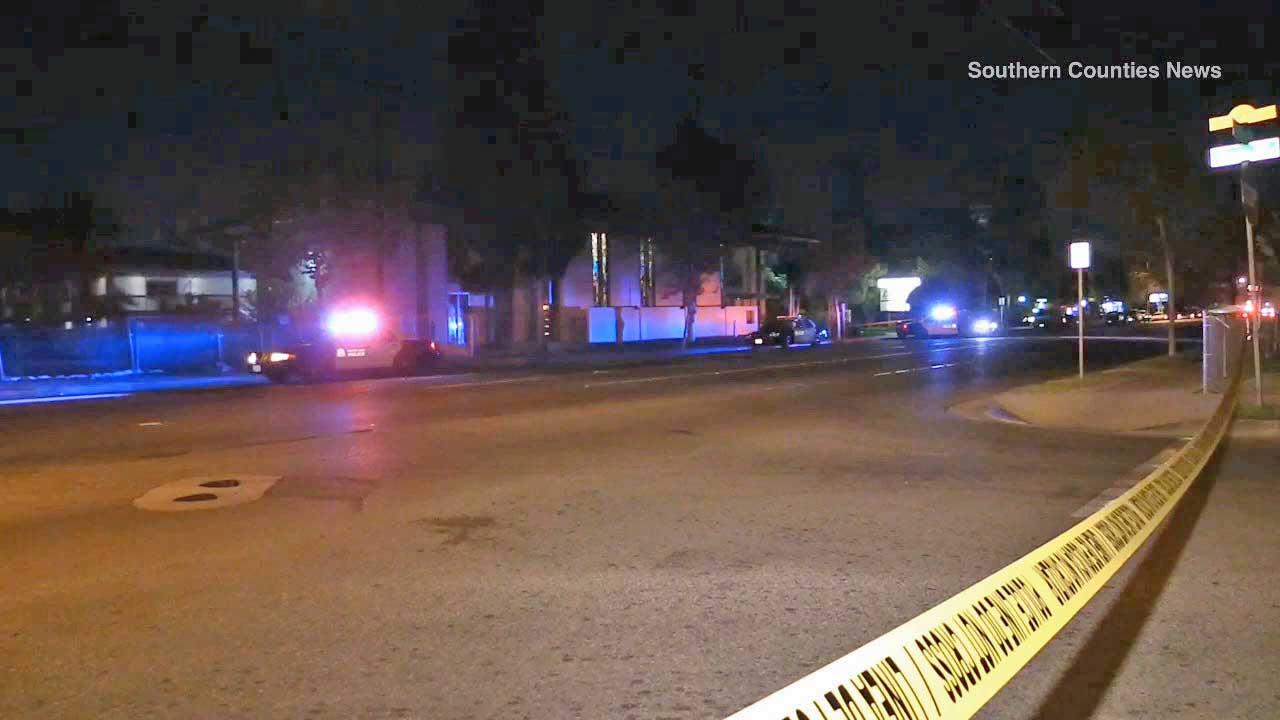 An investigation is underway after a woman and a child were found badly injured on the intersection of Edinger Avenue and Raitt Street in Santa Ana on Thursday, Oct. 31, 2013. The woman later died.