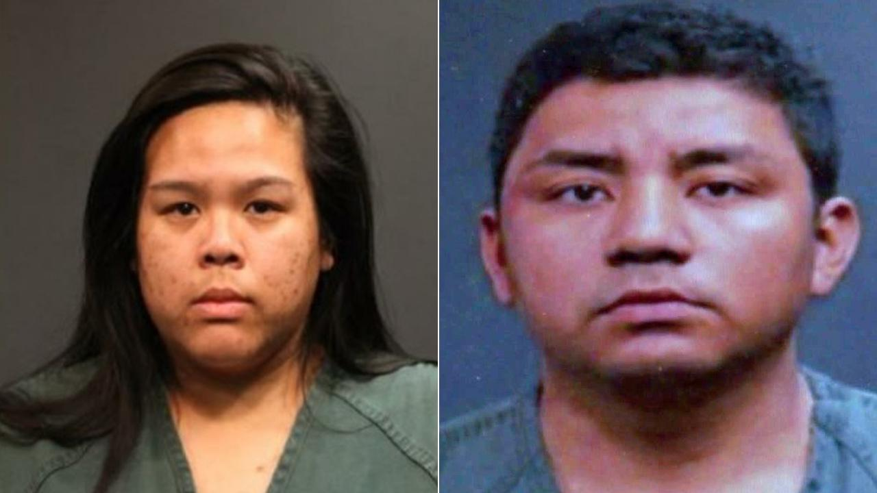 Amanda Aie Sananikone, left, and Adan Camacho, right, were identified as the two drivers who struck a teen who darted into a Santa Ana street. Both drivers are accused of fleeing the scene.