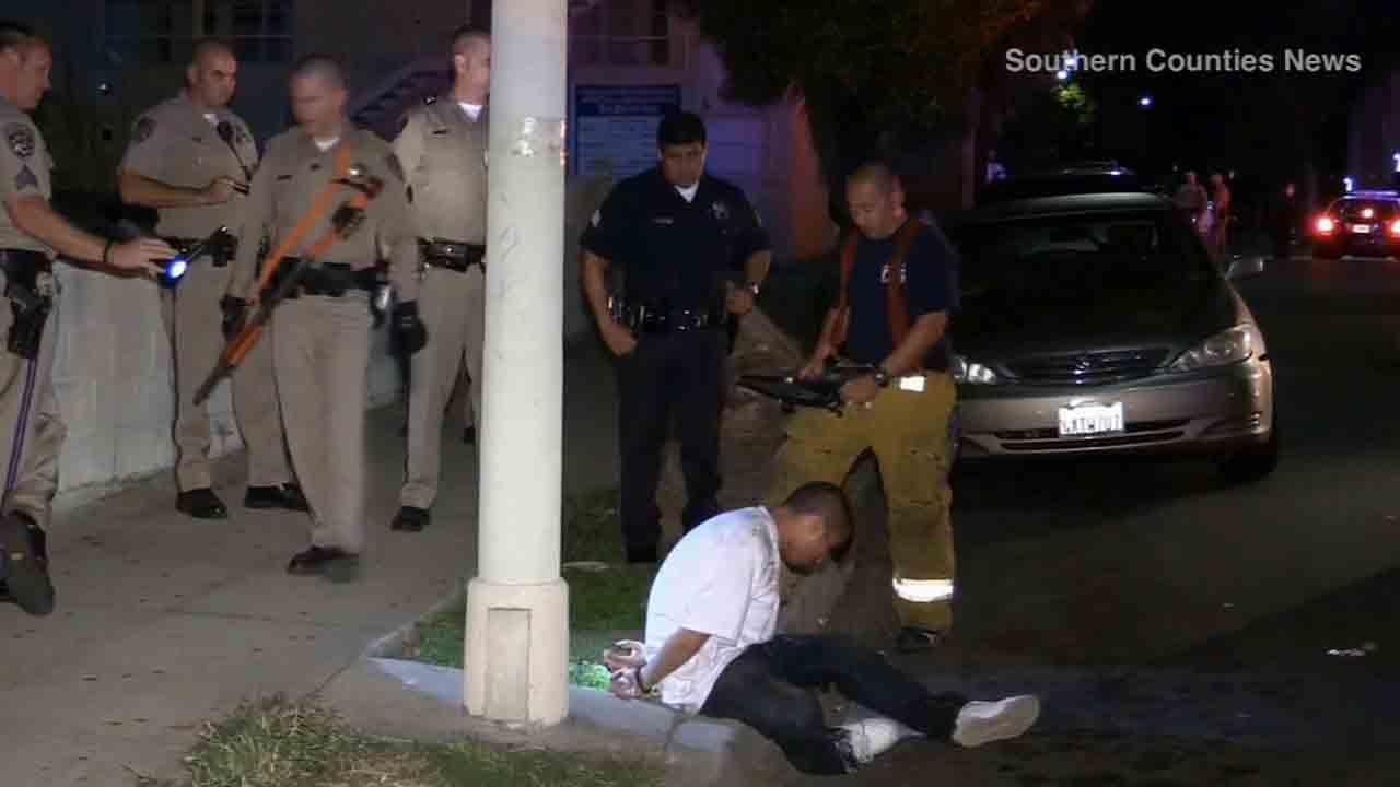 A pursuit that started in Buena Park Friday, March 21, 2014 ended near Occidental Boulevard and Temple Street in Los Angeles when the two robbery suspects attempted to outrun officers.