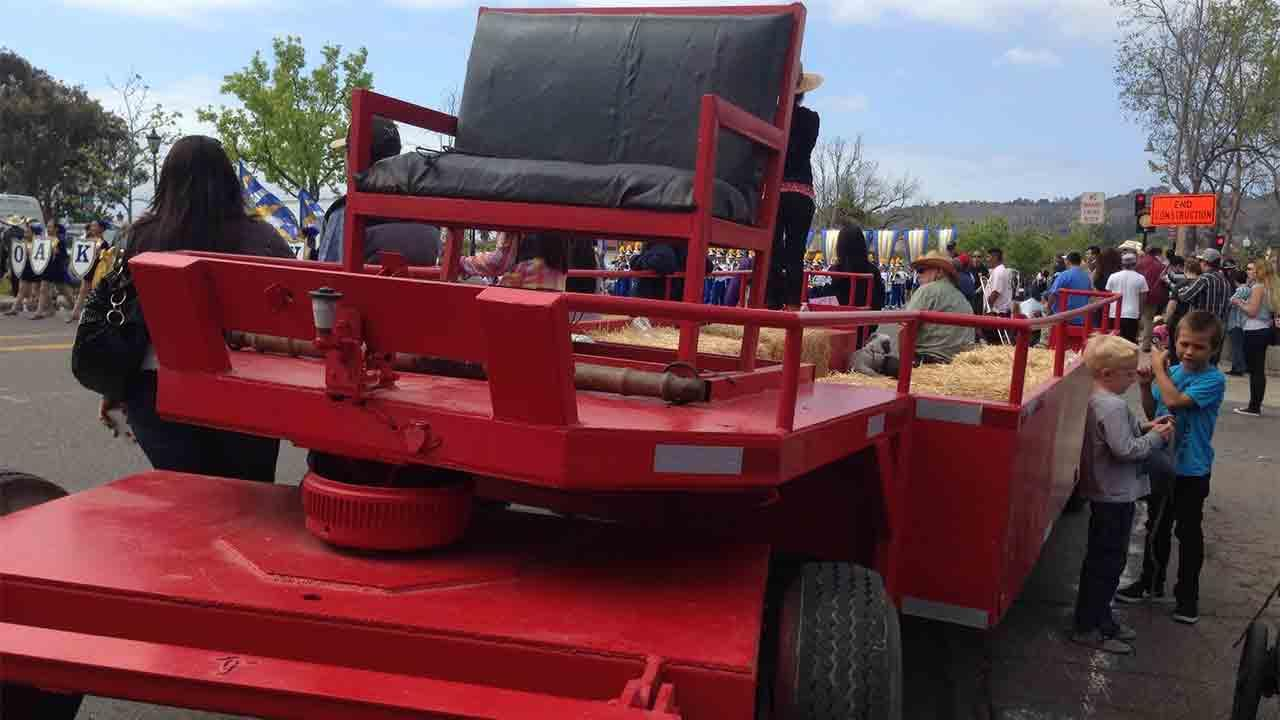 Three people were injured when two horses pulling a trailer became spooked and ran into the crowd at the annual Swallows Day Parade in San Juan Capistrano on Saturday, March 22, 2014.