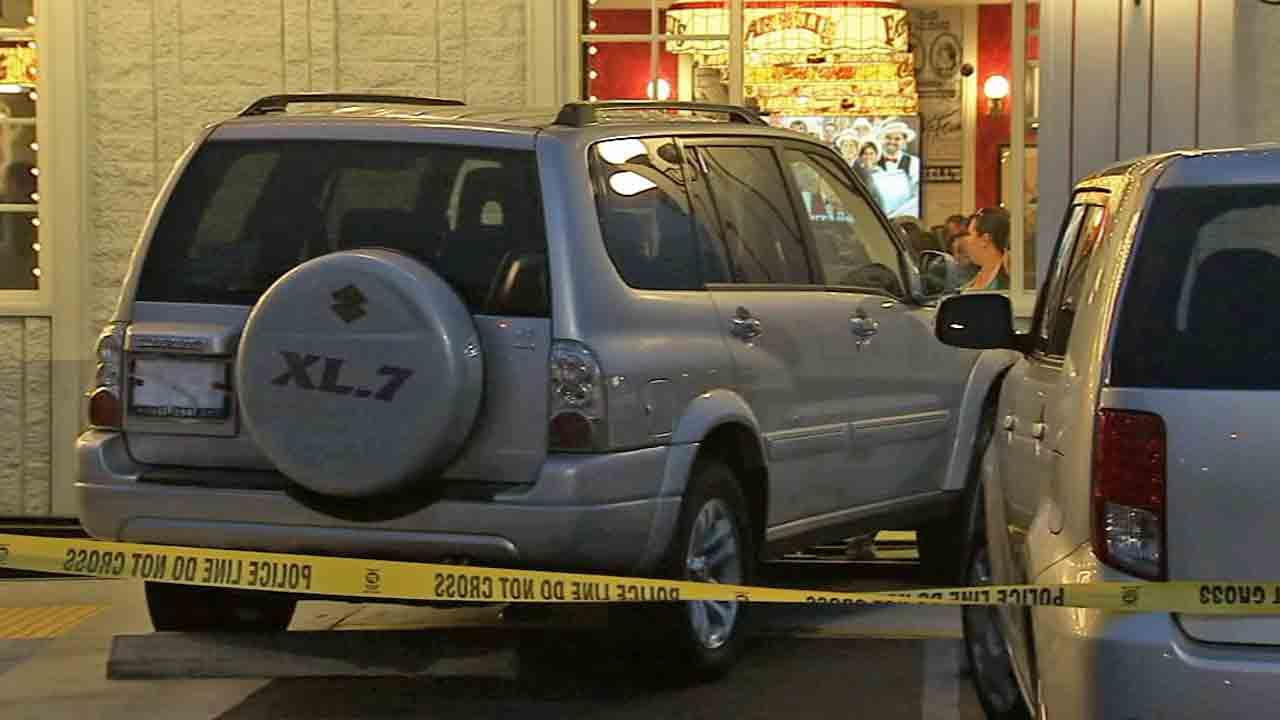 Police say an elderly driver hit a group of people waiting in line at a restaurant in Buena Park Friday, April 25, 2014.