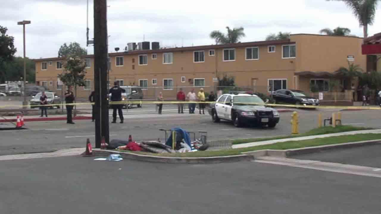 A homeless man was electrocuted as he pushed a shopping cart over a downed power line in the 1800 block of west Commonwealth Avenue in Fullerton Friday, April 25, 2014.