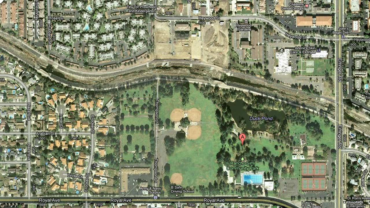 An undated Google Maps satellite image of Rancho Simi Park at 1765 Royal Ave. in Simi Valley, Calif.