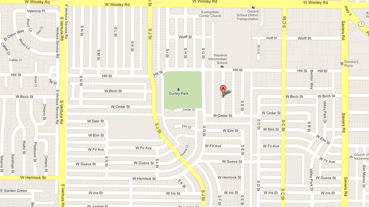 A map indicates the location of a SWAT standoff in the 1400 block of South F Street in Oxnard on Saturday, Aug. 18, 2012.
