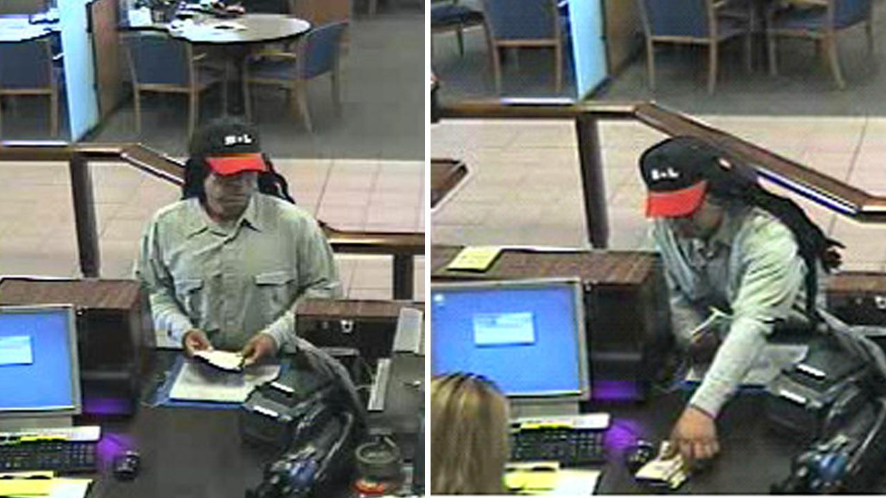 A robbery suspect is shown in surveillance images at a Chase Bank branch on the 2000 block of Victoria Avenue on Thursday, Aug. 13, 2012.