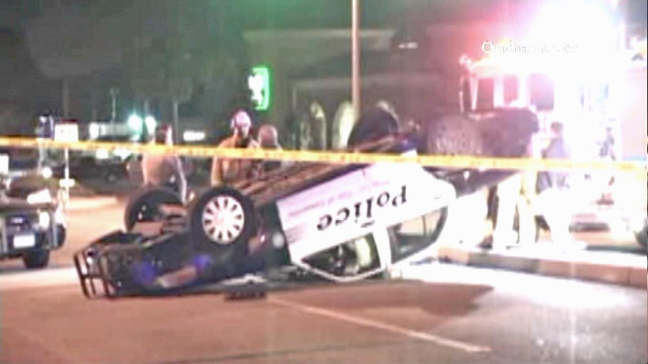 A sheriff deputys patrol car is seen after it flipped over in Camarillo on Saturday, September 1, 2012. The deputy escaped the crash uninjured.