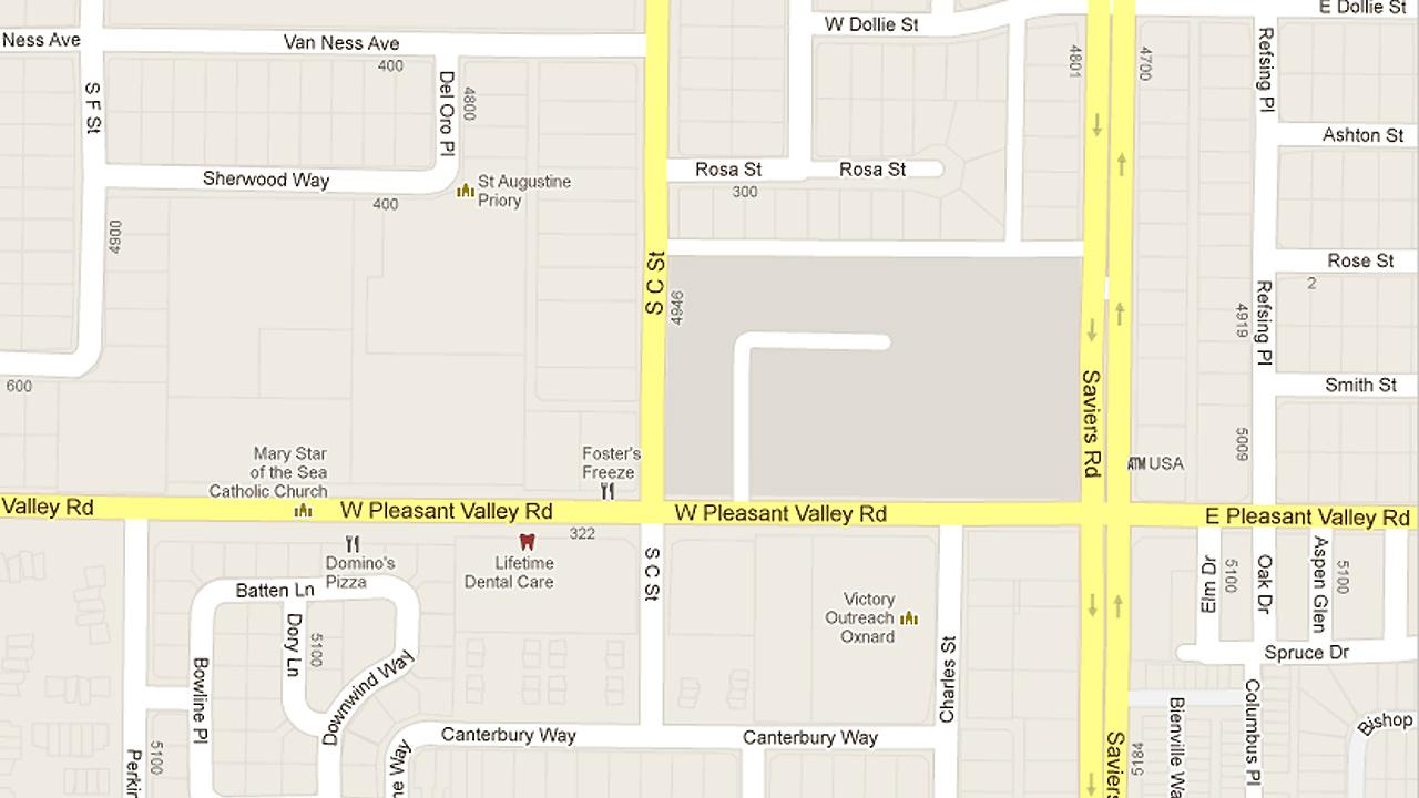 A map shows the intersection of Pleasant Valley Road and C Street in Oxnard where a brief pursuit began between police and a carjacking suspect on Sunday, September 9, 2012.