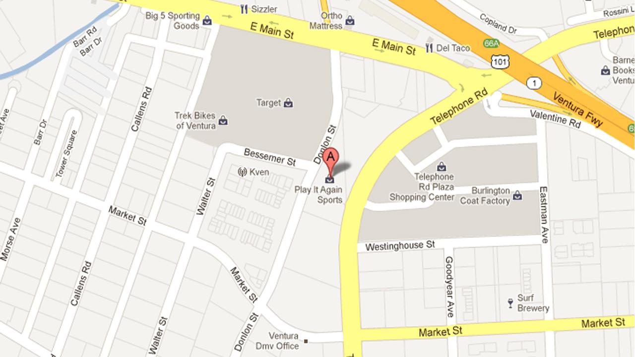 A map shows Play It Again Sports near Telephone Road and E. Main Street in Ventura where a 26-year-old man was arrested for attempting to pawn a stolen surfboard on Monday, Sept. 17, 2012.