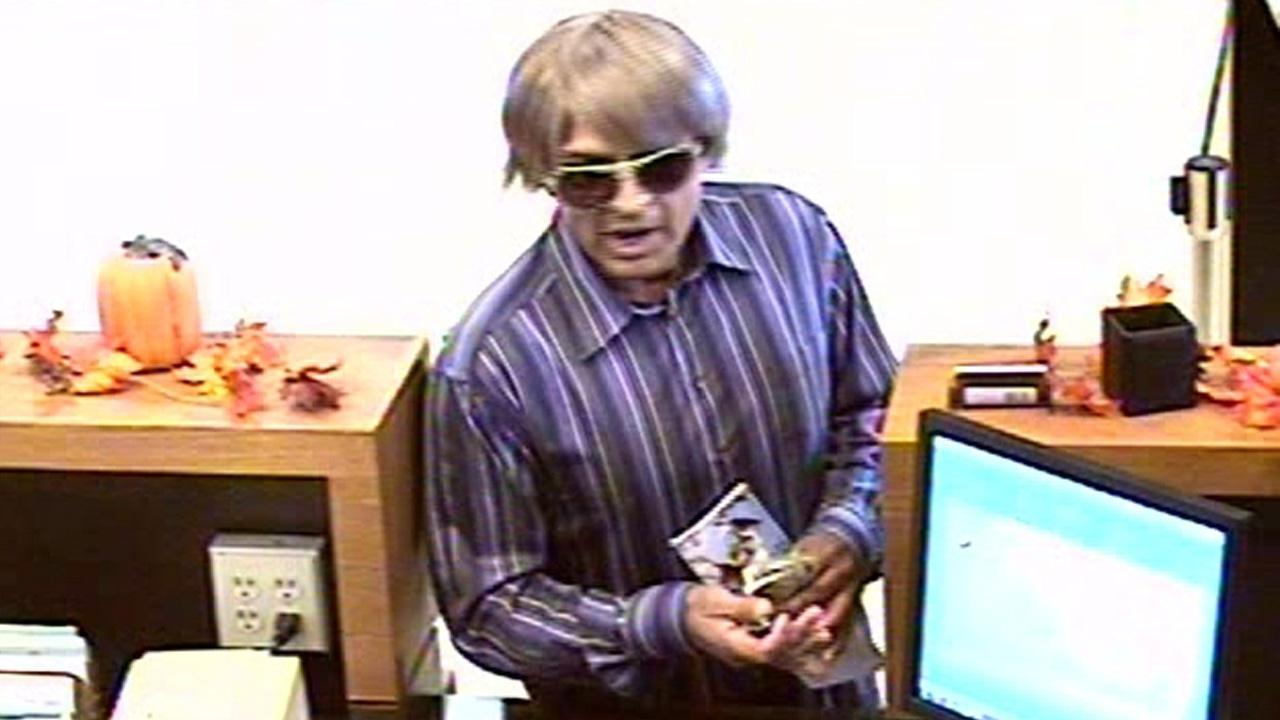 A surveillance photo provided by the Ventura Police Department shows a bank robbery suspect at the Rabobank on the 300 block of South Mills Road in Ventura on Friday, Sept. 28, 2012.