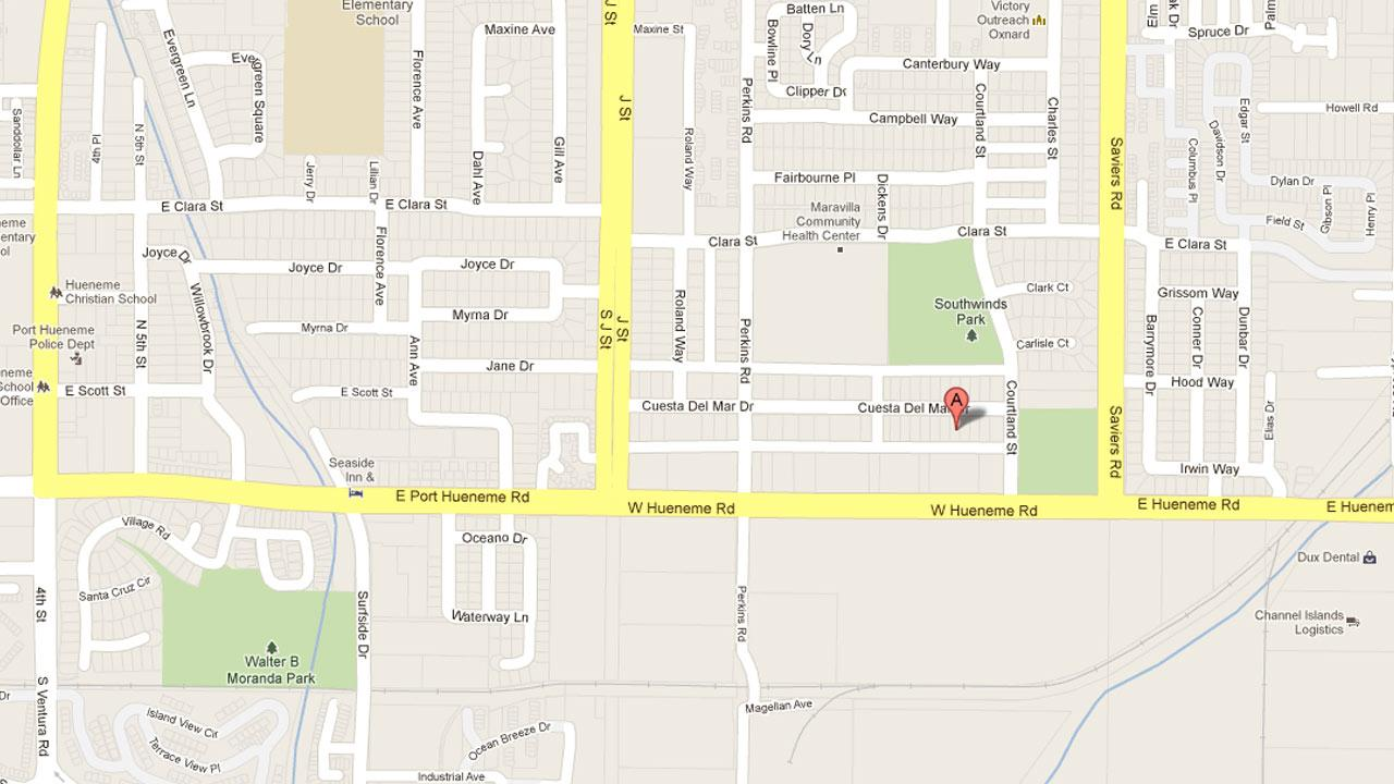A map indicates the location of a shooting in the 300 block of Cuesta Del Mar Street in Oxnard on Saturday, Sept. 29, 2012.