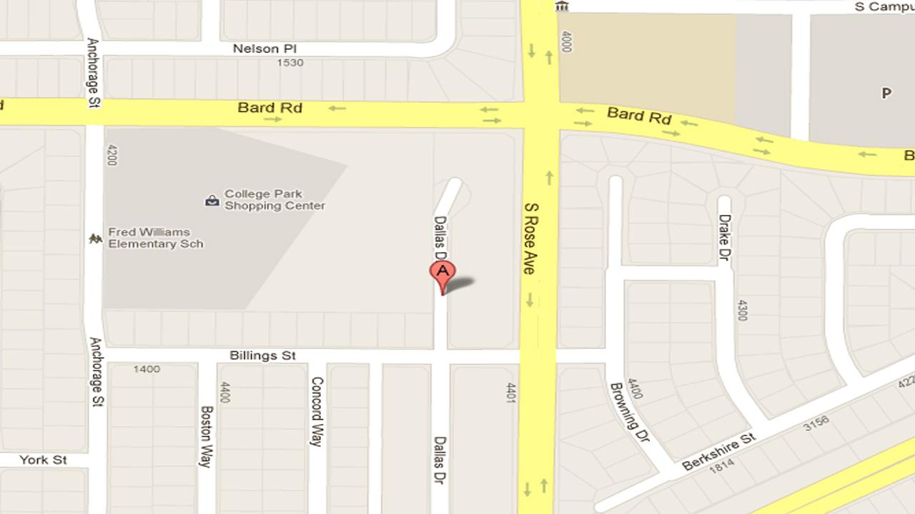 A map indicates where two victims were shot in the 4300 block of Dallas Drive in Oxnard on Saturday, Oct. 27, 2012.