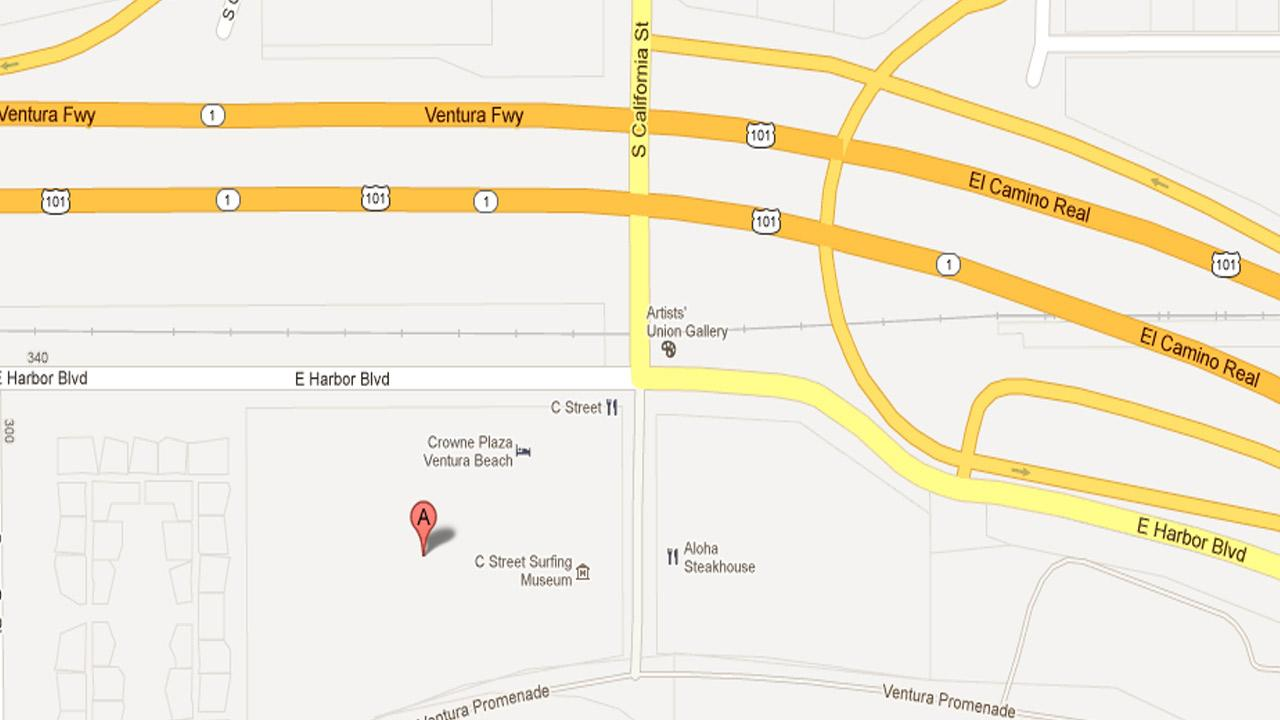 A map indicates the area of a growing homeless encampment near Harbor Boulevard and California Street in Ventura where a homeless man was brutally beaten Friday, Nov. 23, 2012.