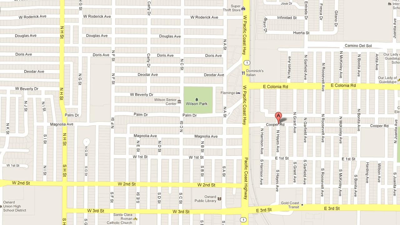A map indicates the location of a carjacking on Cooper Road at Hayes Avenue in Oxnard on Saturday, Dec. 8, 2012.