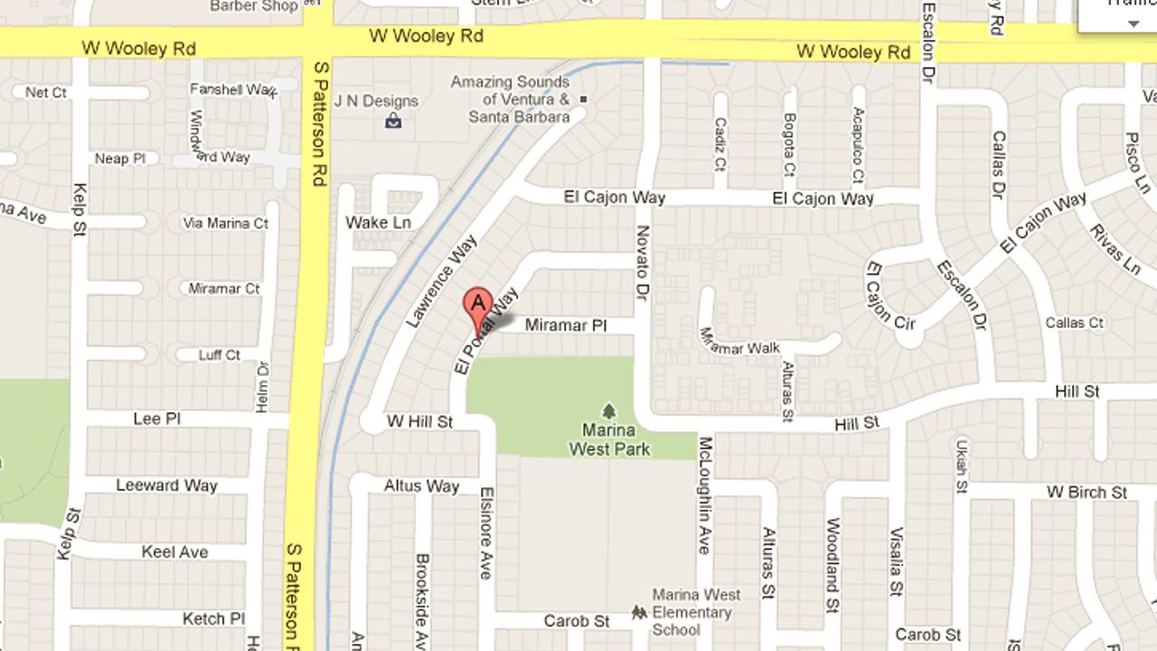 A map indicates the location of a robbery at Marina West Park  in Oxnard on Sunday, Dec. 9, 2012.