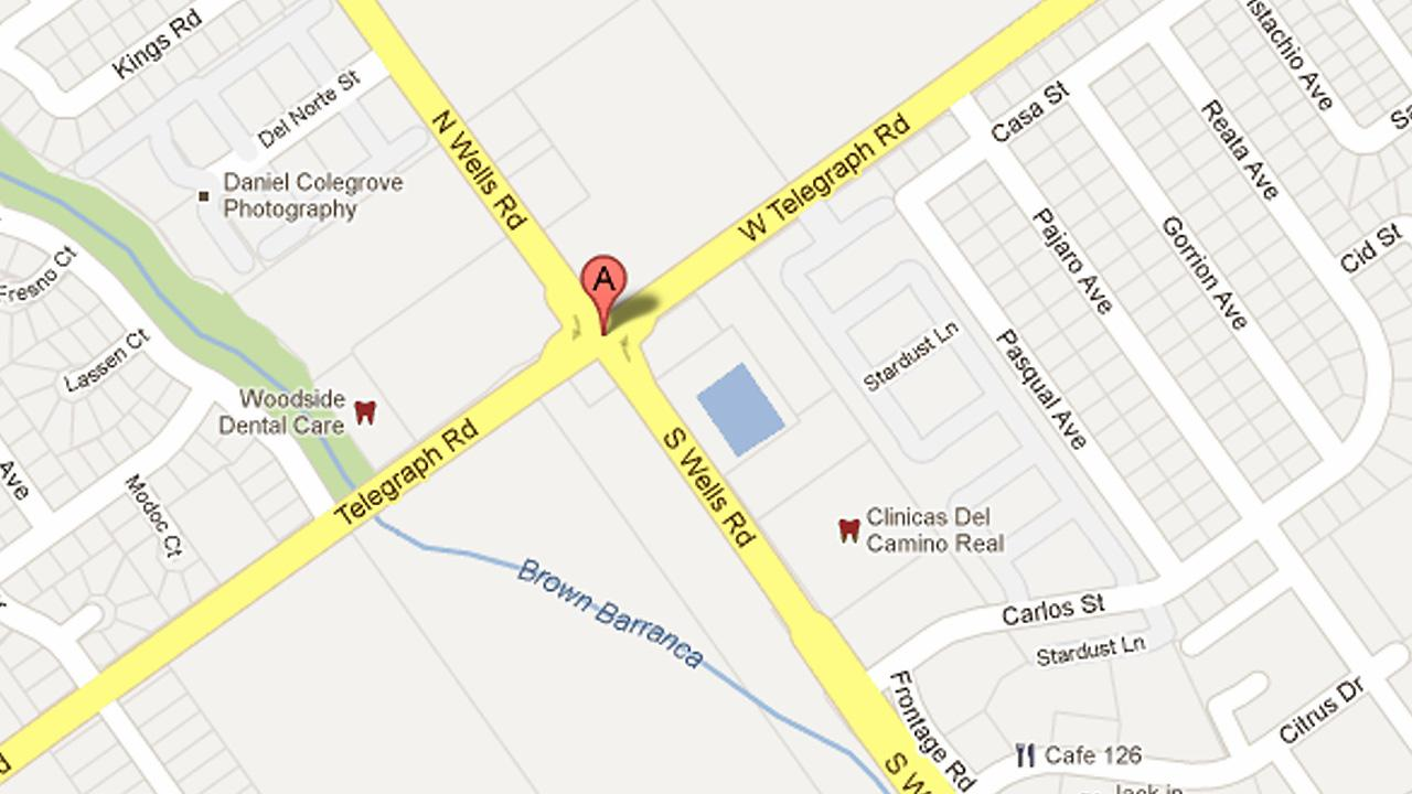 A map shows the intersection of Telegraph Road and Wells Road in Ventura, where two drivers collided head-on on Saturday, Dec. 22, 2012.