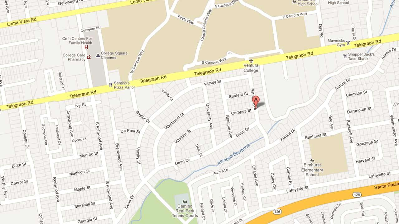 A map indicates the area near Estates and Ashwood Avenues in Ventura where vandals keyed 14 cars on Friday, Dec. 28, 2012.