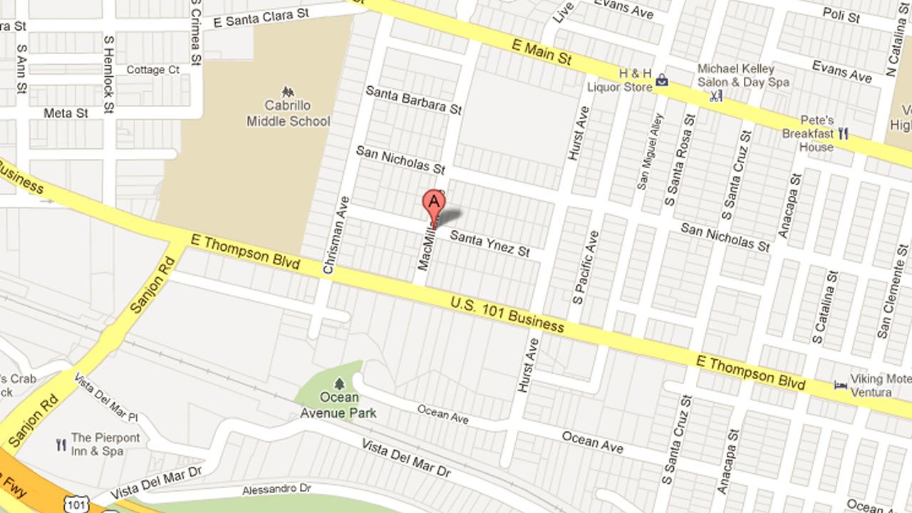 A map shows the 200 block of MacMillan Avenue in Ventura, where the driver of a stolen truck crashed into a parked vehicle on Sunday, Dec. 30, 2012.
