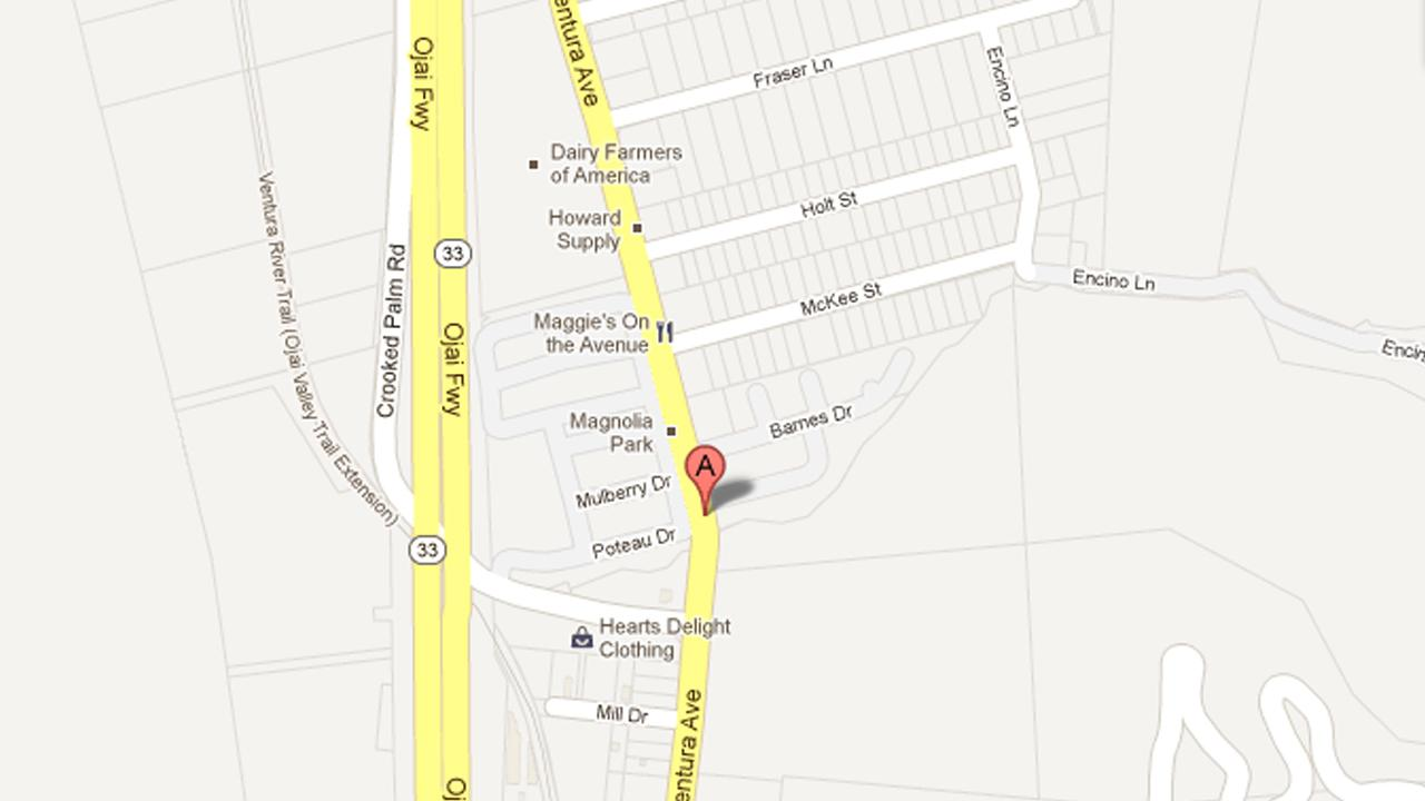 This map shows the 4100 block of North Ventura Avenue in the unincorporated county area north of Ventura.